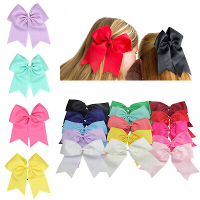 """Cheer Hair Clips Bows Alligator Bow Party With Large Cheerleader 2Pcs 8"""" Ribbon"""