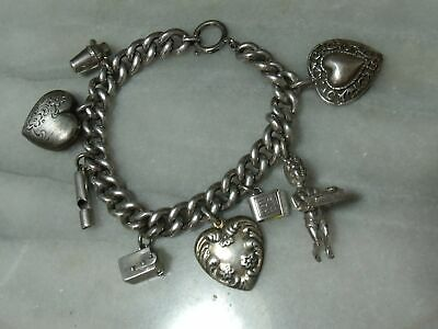 Antique Victorian & Edwardian Sterling Silver Super Heavy Rare 8 Charm Bracelet