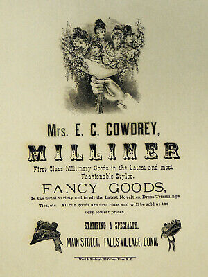 Antique 1870s Victorian MIllinery Hats BROADSIDE Sign Wrapping Paper E.C Cowdrey