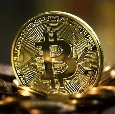 Gold Bitcoin Commemorative Round Collectors Coin Bit Coin is Gold Plated Coin