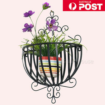 Wrought Iron Wall Mounted Planter Flower Basket Holder Storage Home Organizers