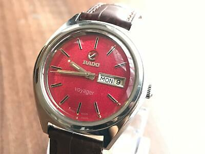 Vintage Rado VOYAGER RED Automatic Gents Watch, Leather Strap, Swiss,ref5736