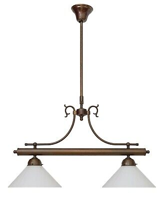Country Home Berliner Brass Lamp Ceiling Light Pendant Opal Glass
