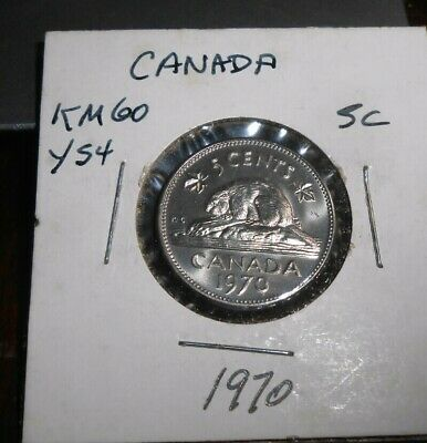 1970 Canada/Canadian Low Mintage 5 Cents Nickel Coin Unc/Bu
