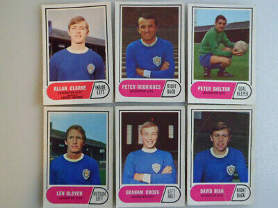 6 Vintage Leicester City football players cards, A&BC, Green Back.