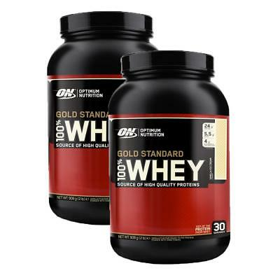 (25,88 Eur / kg) Optimum Nutrition 2 x Whey Gold Standard 908g Can Protein