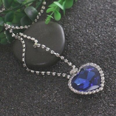 Large Heart of the Ocean Titanic Crystal Ship Blue Stone Pendant Necklace Old UK