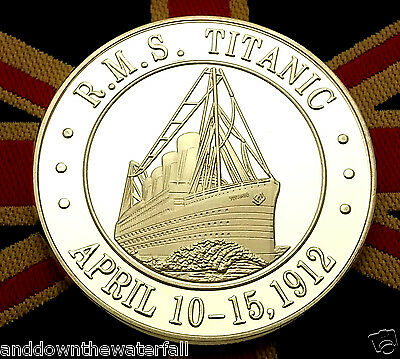 TITANIC Silver COIN Flag Boat Sea Cruise Ship History New York Liverpool Old UK