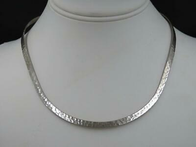 """Vintage Mexico Sterling Silver Modern Hand Hammered 16"""" Choker Collar Necklace"""