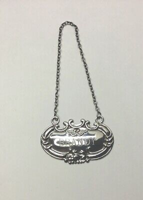 """WALLACE STERLING SILVER """"BRANDY"""" LIQUOR TAG - Signed, 2"""" Width"""