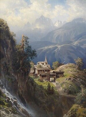 """oil painting handpainted on canvas """"A church in the deep mountains""""@NO2445"""