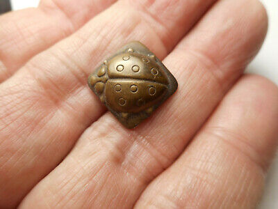 Ladybug Insect Square Brass Vintage Button 5/8""