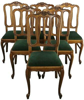 Dining Chairs Louis Xv Rococo Green Upholstery French Vintage 1950 Oak Set 6