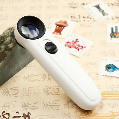 New 40X Magnifying Magnifier Glass Jeweler Eye Jewelry Loupe Loop +2LED Lights