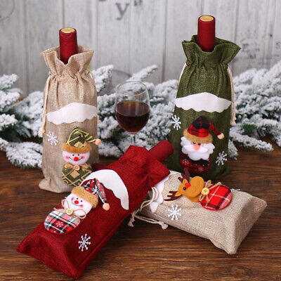 Christmas Drawstring Red Wine Bottle Cover Bags Home Dinner Table Decor Gifts