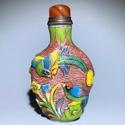 Chinese Coloured Glaze Emboss Flowers & Birds Rare Collectible Old Snuff Bottle
