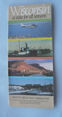 1993 1994 Wisconsin official highway state road map