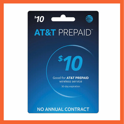 AT&T $10 Prepaid Refill Reload Card Fast Delivery Loaded to your number directly