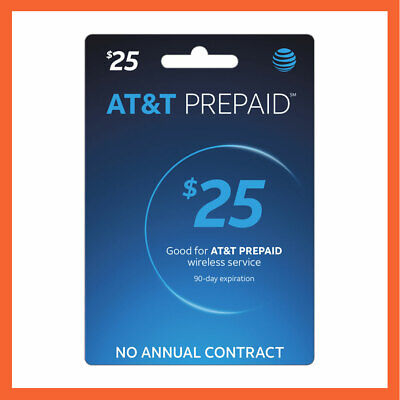 AT&T $25 Prepaid Refill Reload Card Fast Delivery Loaded to your number directly