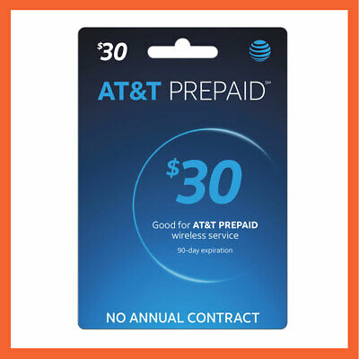 AT&T $30 Prepaid Refill Reload Card Fast Delivery Loaded to your number directly