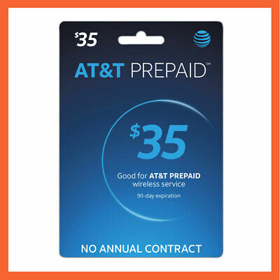 AT&T $35 Prepaid Refill Reload Card Fast Delivery Loaded to your number directly