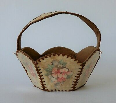 Vintage Retro 50s CARD BASKET W/ HANDLE knitting/crochet/storage FLORAL rustic