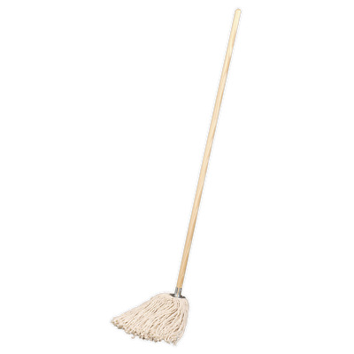 BM05 Sealey Tools Pure Yarn Cotton Mop 340g with Handle [Janitorial] Mops