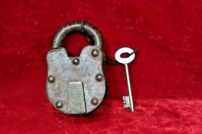 Iron Brass Lock and Key Antique Old Vintage Padlock Collectible BG-78