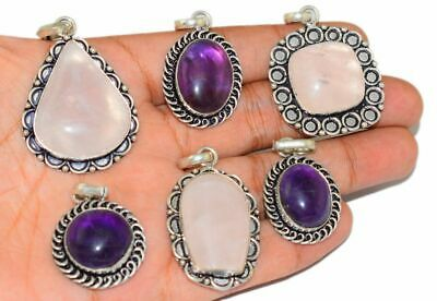 Amethyst & Mix Stone 925 Silver Plated Pendants Lot 24 Pcs MX23-1123