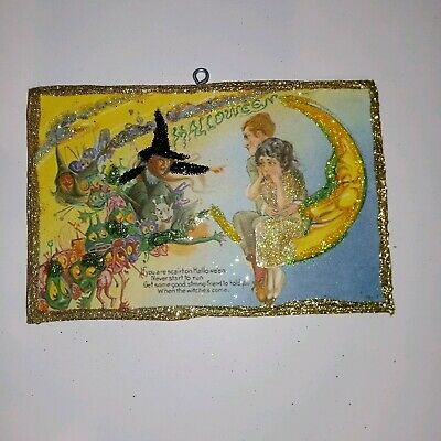 Vtg Image~~Witch Goblins Couple on Moon~~ Halloween Glitter Wood Ornament