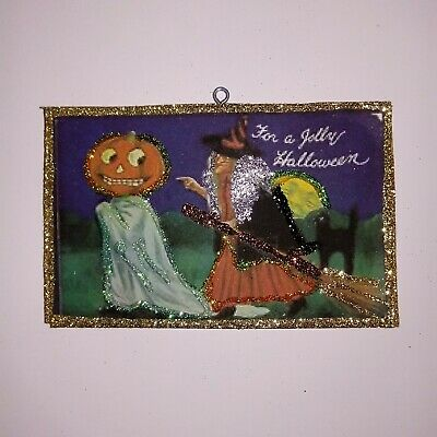 Vtg Image~~Witch JOL Head Ghost Moon Cat~ Halloween Glitter Wood Ornament