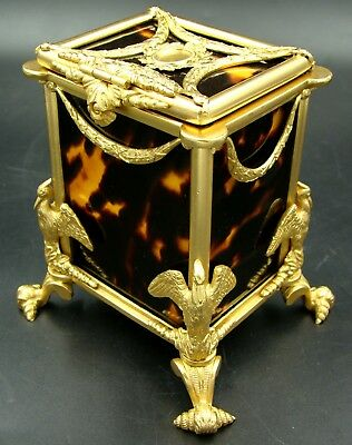 French 19th Century Faux Tortoise Shell & Gilt Bronze Tea Caddy Napoleon Swan
