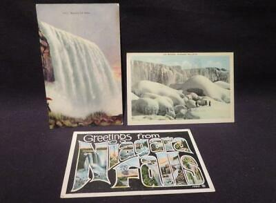 Niagara Falls Trio of Early 1900s-1930s Color Postcards Horseshoe, Inset, Ice