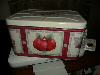 Metal Bread Box Fruits + Leaves Design Lift Off Lid Guc Nice Storage Size