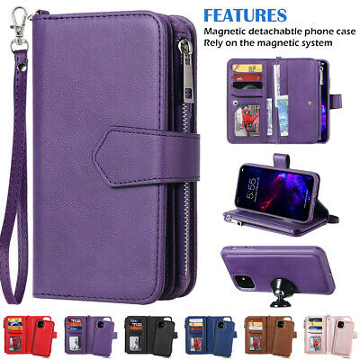For 2019 New iPhone 11 Pro Max Zipper Purse Leather Removable Card Wallet Case