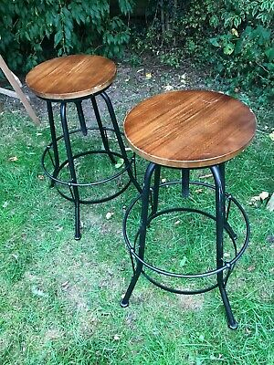 "Two Vintage Wooden & Metal Industrial Design Adjustable Stools 27"" -31"" Tall"