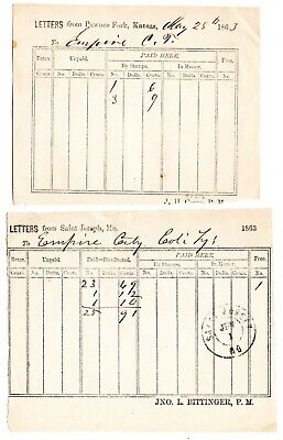 Lot of 2 Waybills to Empire City, Colo. Terr.; Pawnee Fork, Kans & St Joseph, MO