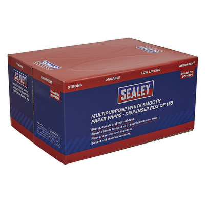 SCP1501 Sealey Multipurpose Paper Wipes in Dispenser Box Smooth 73gsm 150 Sheets