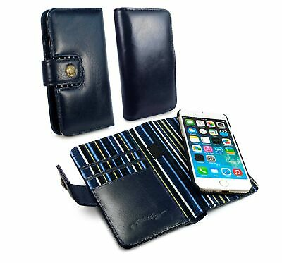 Alston Craig Genuine Leather Magnetic Wallet Case for iPhone 8 - Navy Blue