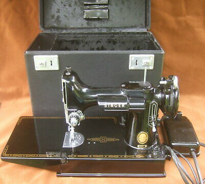 Singer Featherweight 221 Sewing Machine with Parts Very Clean 1954