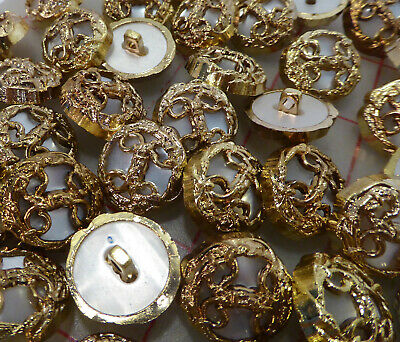 12 vintage gold plastic shank buttons filigree design with moonglow center 21mm