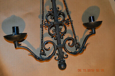Ornate Hand Wrought Iron & Copper  Wall Hanging Lamp *  Hammered