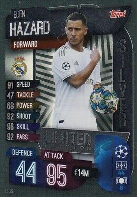 Match Attax 2019/20 Eden Hazard Silver Limited Edition Le3S Mint