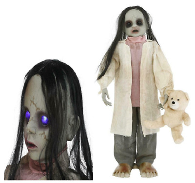 36 in Animated Zombie Girl Halloween Props Decor with Teddy Bear and LED Eyes