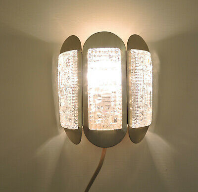 Pair Mid Century Danish Modern Brass and Crystal Wall Sconces by Vitrika