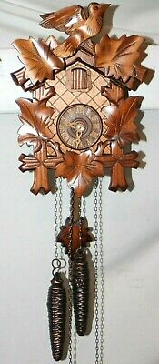 Attractive German Carved Walnut Weight Driven 1 Day Cuckoo Clock. **Excellent**
