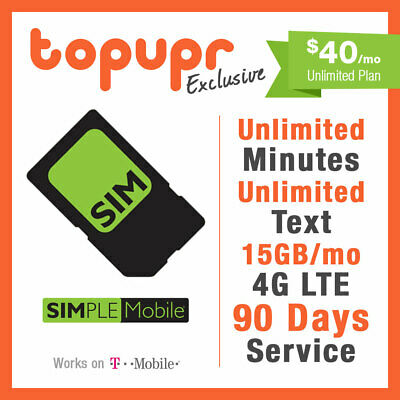 1 2 3 MONTH SIMPLE MOBILE SIM Card $40 PLAN 90 Days Preloaded 15GB/month LTE