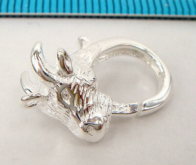1x BRIGHT STERLING SILVER SHEEP LAMB LOBSTER CLASP BEAD 17.9mm #1977
