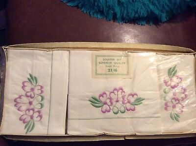 Vintage New boxed white cotton set of 3( pair pillow cases+ Bolster) embroidered