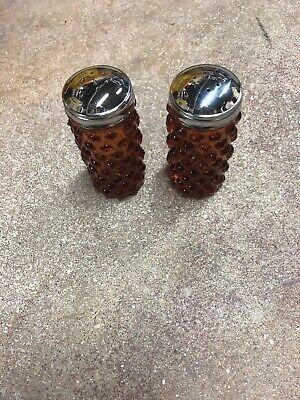 VINTAGE FENTON BROWN HOBNAIL GLASS SALT AND PEPPER SHAKERS WITH GOLD CHrome LIDS